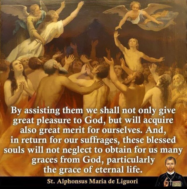 assist the souls in Purgatory