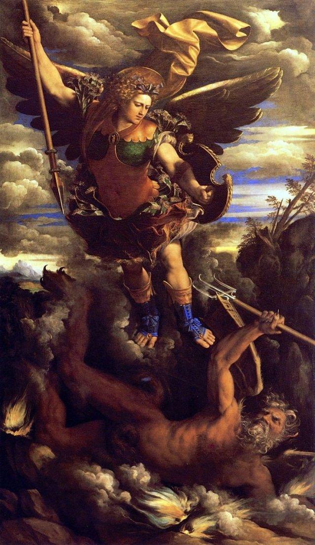 "St Michael the Triumphant"", circa 1562, by Italian Artist Dosso Dossi.jpg"