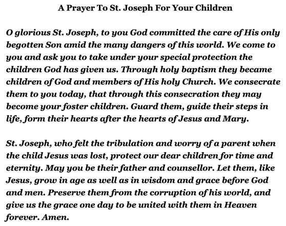 A Prayer To St. Joseph For Our Children