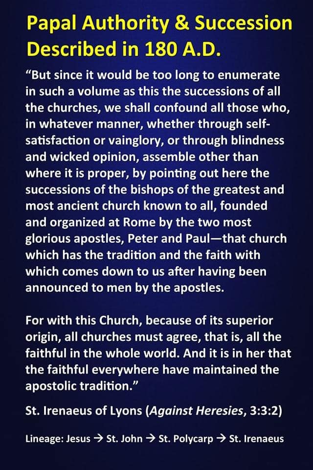 St Irenaeus Papal authority described in 180 AD