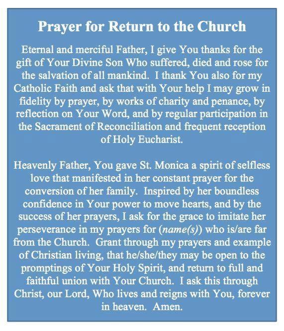 prayer to return to the Church